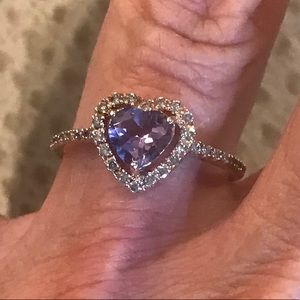 Rose gold, heart shaped amethyst & diamond ring